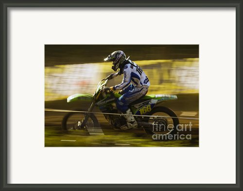 Motocross Framed Print By Angel  Tarantella