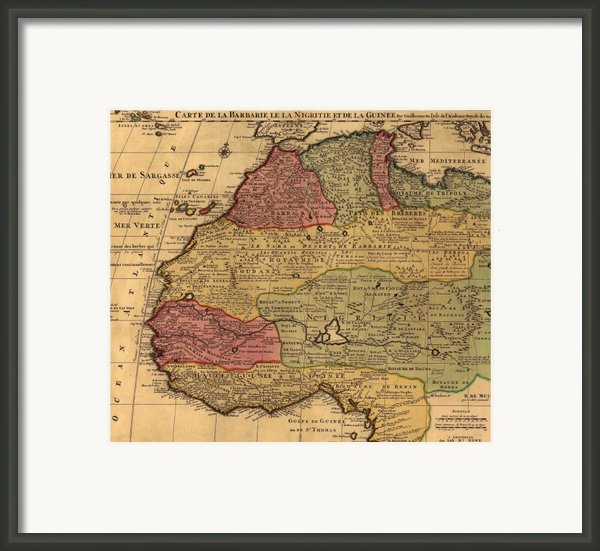 1742 French Map Of Northwest Africa Framed Print By Everett