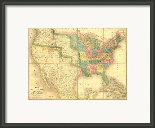 1839 Map Showing Us-mexican Boundary Framed Print By Everett