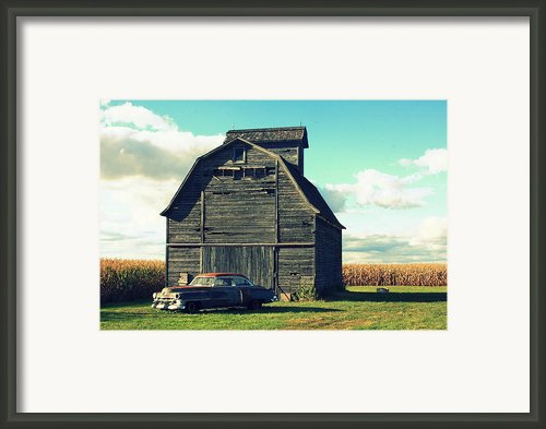 1950 Cadillac Barn Cornfield Framed Print By Lyle Hatch