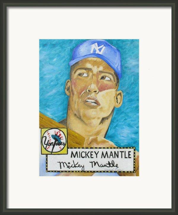 1952 Mickey Mantle Rookie Card Original Painting Framed Print By Joseph Palotas