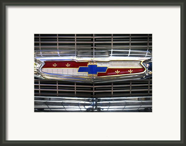1956 Chevrolet Grill Emblem Framed Print By Mike Mcglothlen