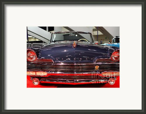 1956 Lincoln Premiere Convertible . Blue . 7d9245 Framed Print By Wingsdomain Art And Photography