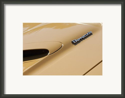 1971 Plymouth Barracuda Convertible 318 Ci Hood Emblem Framed Print By Jill Reger