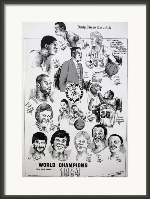 1984 Boston Celtics Championship Newspaper Poster Framed Print By Dave Olsen