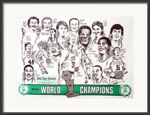 1986 Boston Celtics Championship Newspaper Poster Framed Print By Dave Olsen