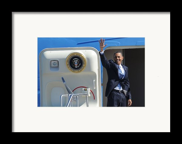 Barack Obama At A Public Appearance Framed Print By Everett