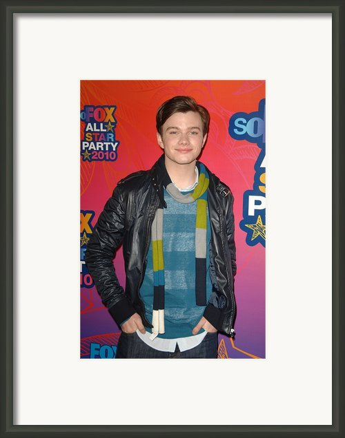 Chris Colfer At Arrivals For Fox Framed Print By Everett