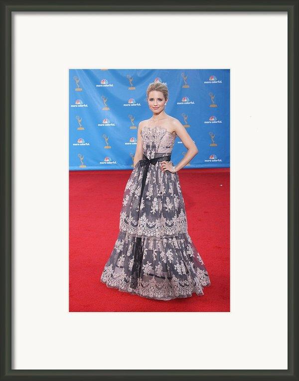 Dianna Agron Wearing A Carolina Herrera Framed Print By Everett