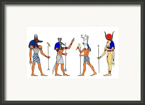 Egyptian Gods And Goddess Framed Print By Michal Boubin