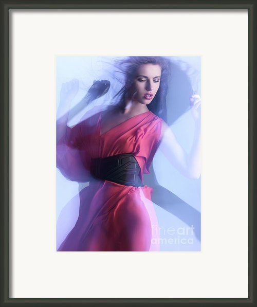 Fashion Photo Of A Woman In Shining Blue Settings Framed Print By Oleksiy Maksymenko