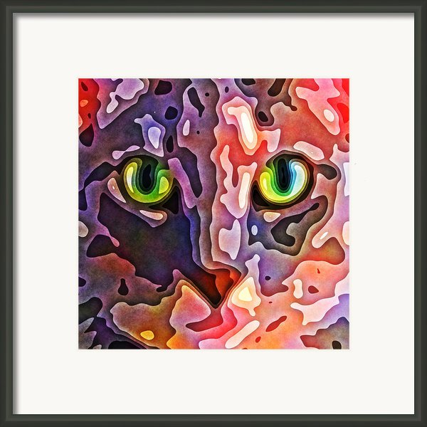 Feline Face Abstract Framed Print By David G Paul