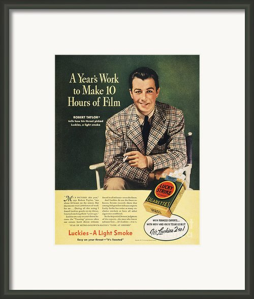 Lucky Strike Cigarette Ad Framed Print By Granger