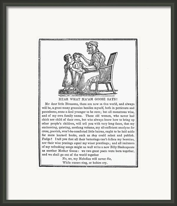 Mother Goose, 1833 Framed Print By Granger