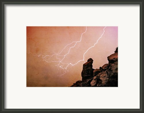 Praying Monk Camelback Mountain Lightning Monsoon Storm Image Tx Framed Print By James Bo Insogna