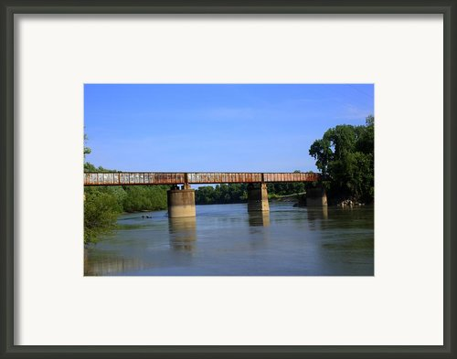 Train Bridge Over Black River At Black Rock Arkansas Framed Print By Geary Barr