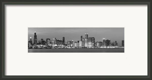 2010 Chicago Skyline Black And White Framed Print By Donald Schwartz