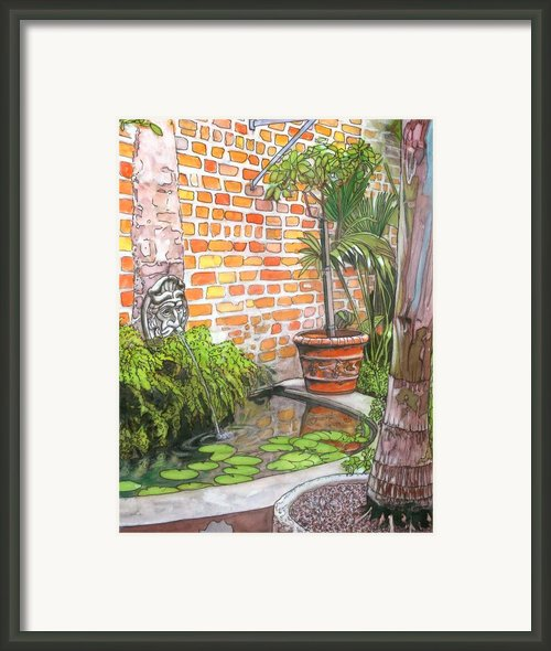 21   French Quarter Courtyard With Reflection Pool Framed Print By John Boles