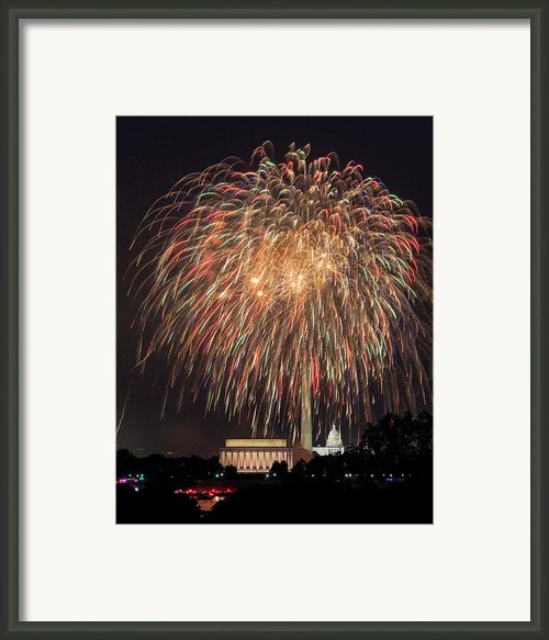 Fireworks Over Washington Dc On July 4th Framed Print By Steve Heap