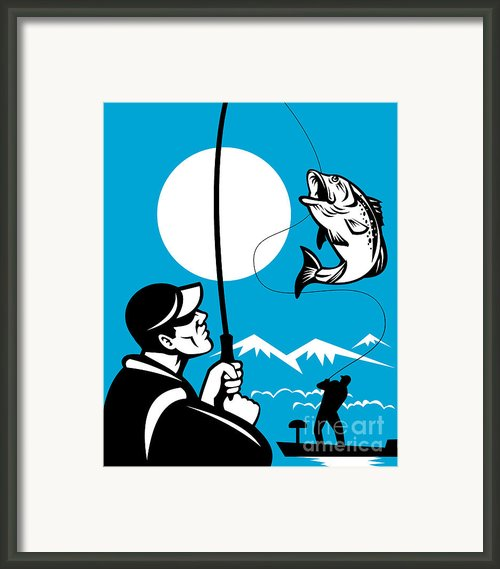 Largemouth Bass Fish And Fly Fisherman Framed Print By Aloysius Patrimonio