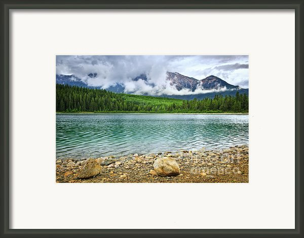 Mountain Lake In Jasper National Park Framed Print By Elena Elisseeva