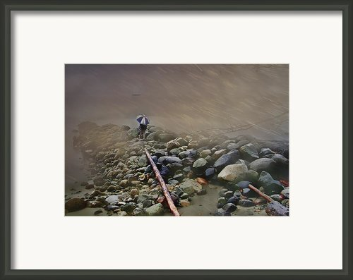 Umbrella On The Rocks Framed Print By Dale Stillman
