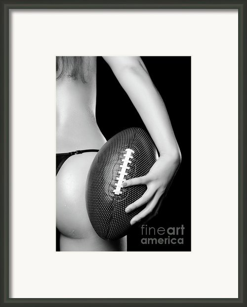 Woman With A Football Framed Print By Oleksiy Maksymenko