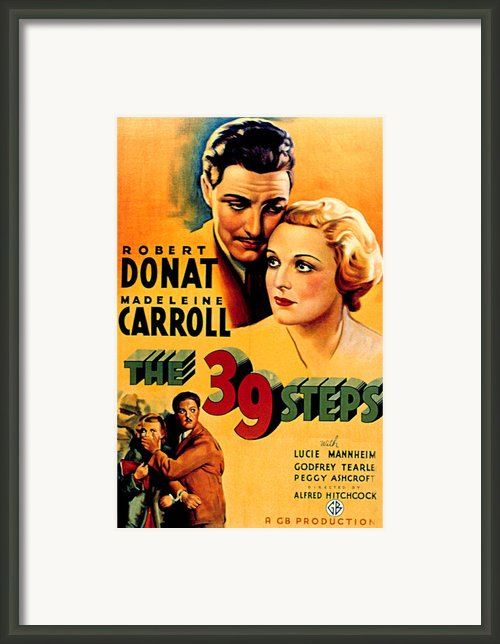 39 Steps, The, Robert Donat, Madeleine Framed Print By Everett