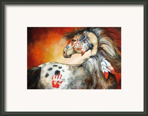 4 Feathers Indian War Pony Framed Print By Marcia Baldwin