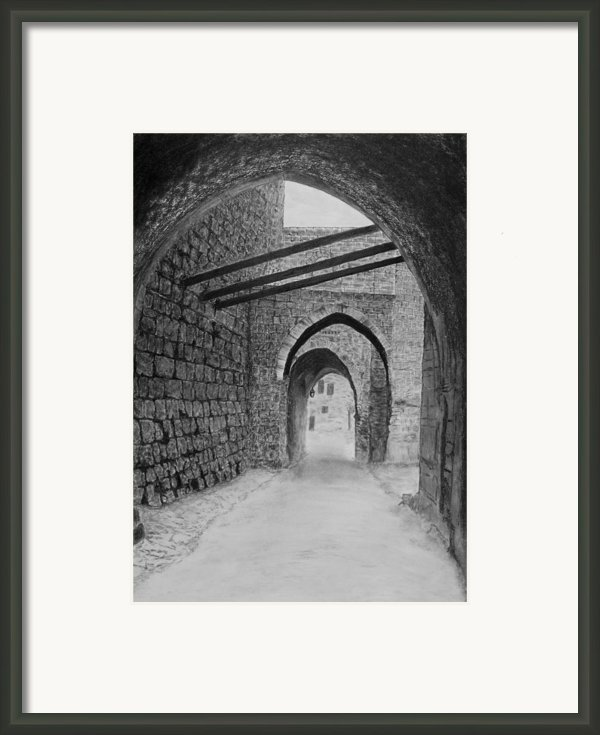 Jerusalem Old Street Framed Print By Marwan Hasna - Art Beat