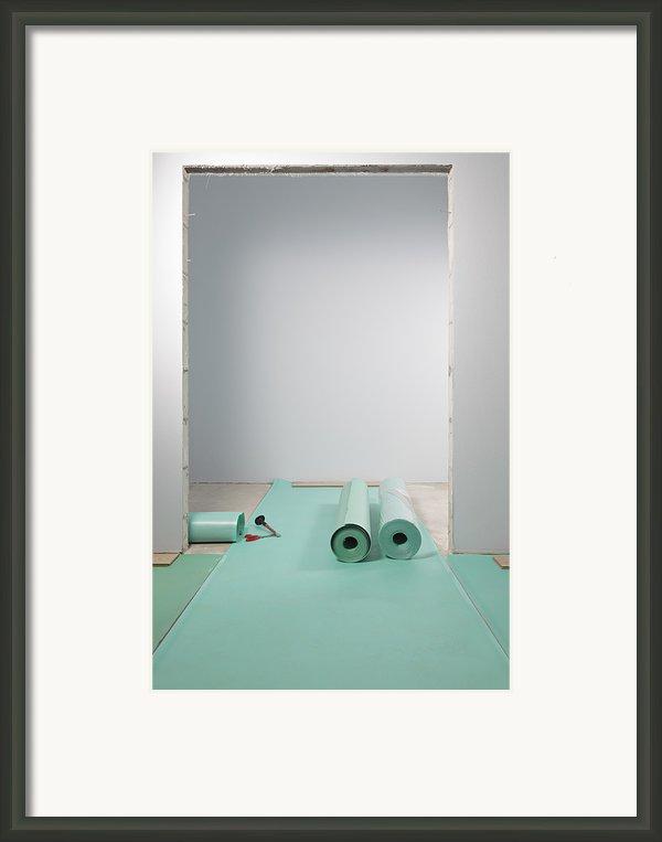 Laying A Floor. Rolls Of Underlay Or Framed Print By Magomed Magomedagaev