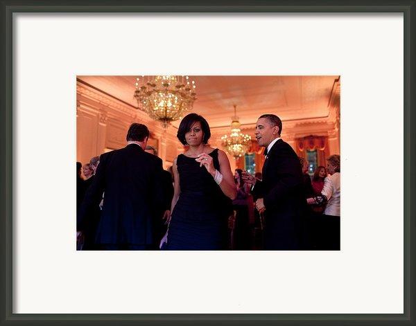 President And Michelle Obama Dance Framed Print By Everett