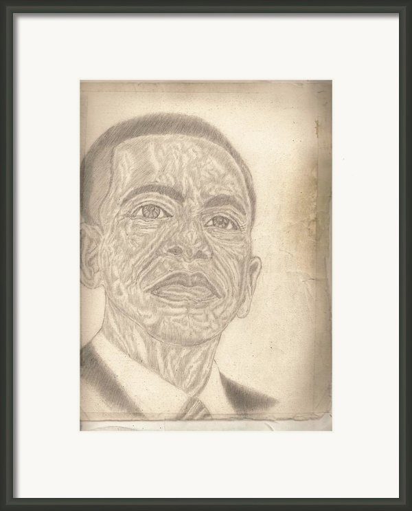 44th President Barack Obama By Artist Fontella Moneet Farrar Framed Print By Fontella Farrar