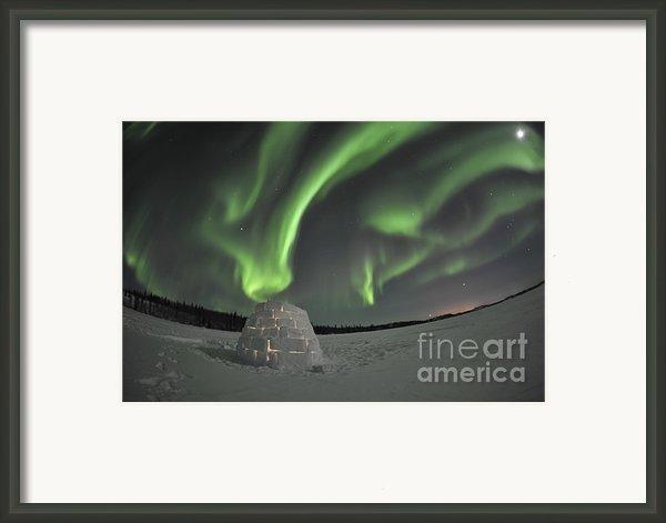Aurora Borealis Over An Igloo On Walsh Framed Print By Jiri Hermann