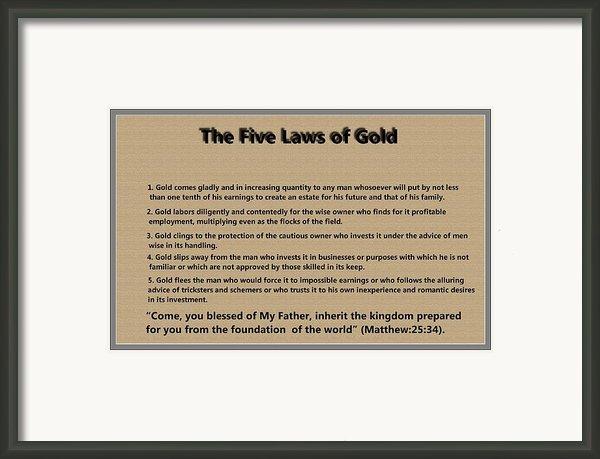 5 Laws Of Gold Framed Print By Ricky Jarnagin