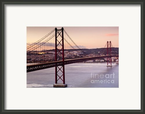 25th Of April Suspension Bridge In Lisbon Framed Print By Andre Goncalves