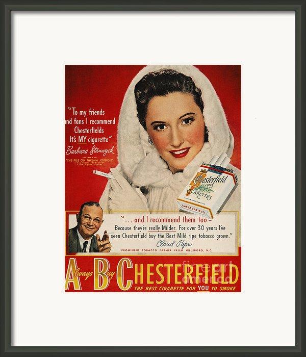 Chesterfield Cigarette Ad Framed Print By Granger