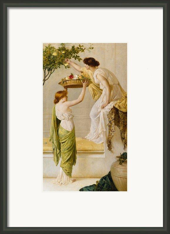 A Basket Of Roses - Grecian Girls Framed Print By Henry Thomas Schaefer
