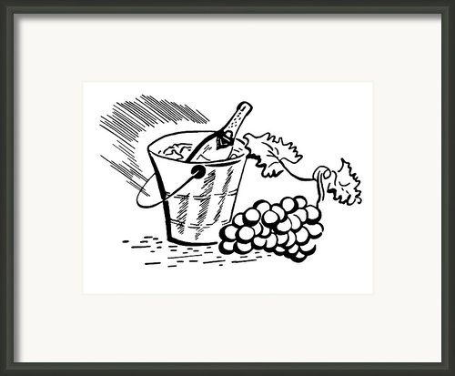A Black And White Version Of A Vintage Illustration Of A Bottle Of Wine And Fresh Grapes Framed Print By Coco Flamingo