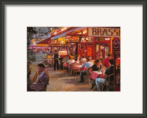 A Cena In Estate Framed Print By Guido Borelli