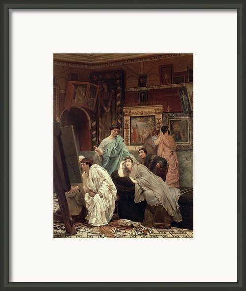 A Collector Of Pictures At The Time Of Augustus Framed Print By Sir Lawrence Alma-tadema