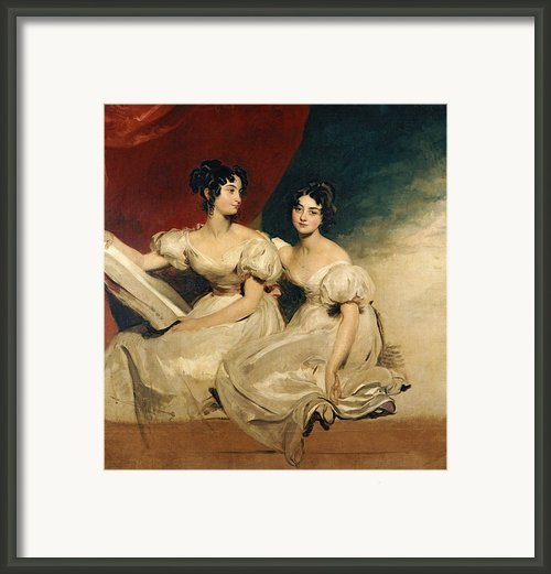 A Double Portrait Of The Fullerton Sisters Framed Print By Sir Thomas Lawrence