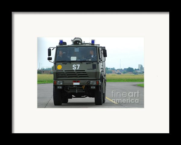 A Fire Engine Based At The Air Force Framed Print By Luc De Jaeger
