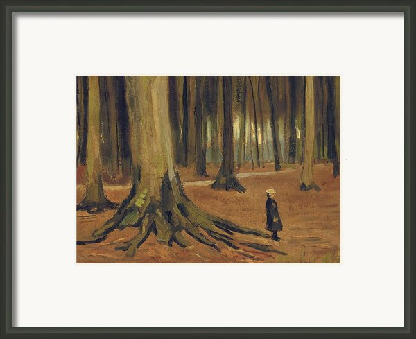 A Girl In A Wood Framed Print By Vincent Van Gogh