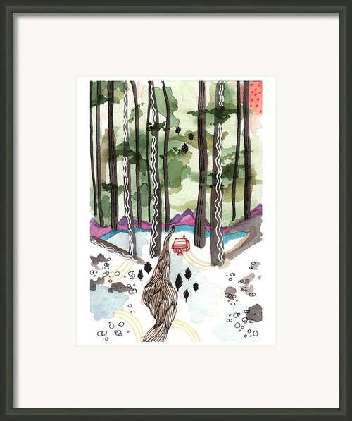 A House By A Stream In The Middle Of A Forest Framed Print By Brooke Weeber