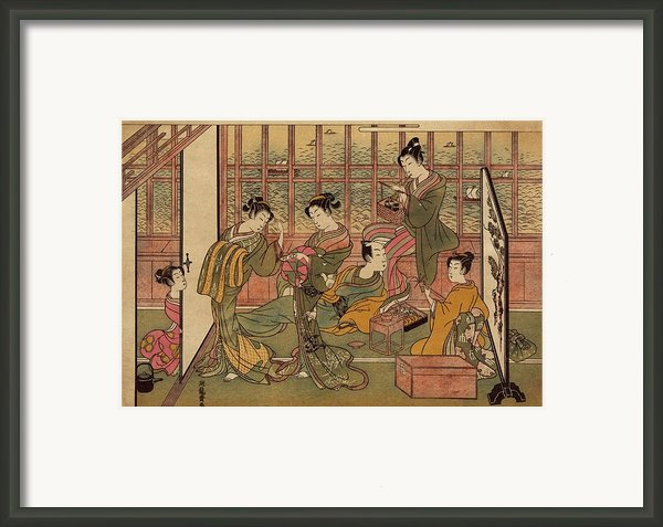 A Japanese Brothel In Shinagawa, Shows Framed Print By Everett