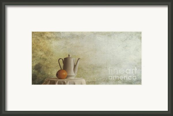 A Jugful Tea And A Orange Framed Print By Priska Wettstein