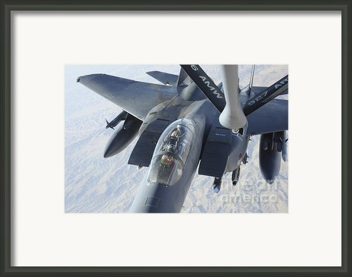 A Kc-135 Stratotanker Refuels An F-15e Framed Print By Stocktrek Images