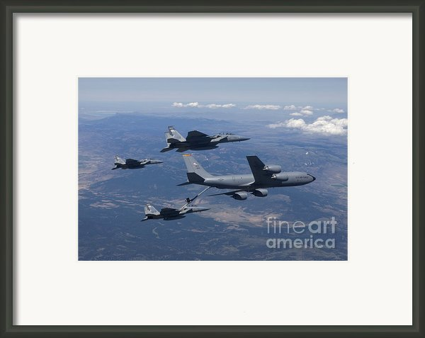 A Kc-135r Stratotanker Refuels Three Framed Print By High-g Productions