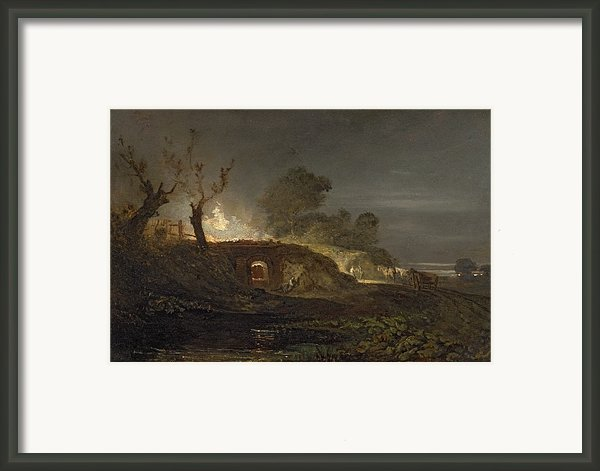 A Lime Kiln At Coalbrookdale Framed Print By Joseph Mallord William Turner